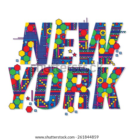 New York color typography, t-shirt graphics, vectors - stock vector