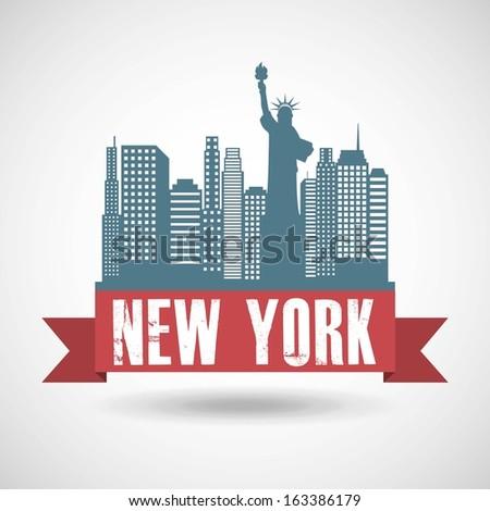 new york design over gray background vector illustration - stock vector