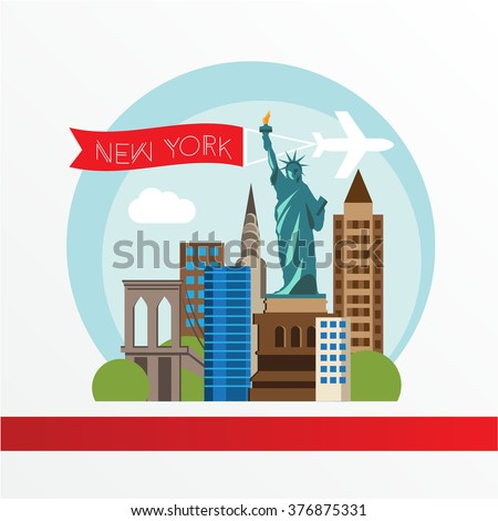 New York, detailed silhouette. Trendy vector illustration, flat style. Stylish colorful  landmarks. The concept for a web banner. Statue of Liberty - The symbol of USA. - stock vector