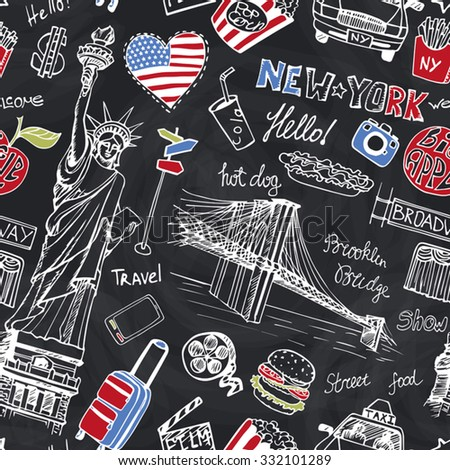 New York Doodle seamless pattern.American travel symbols in hand drawn sketch.Vector icons,sign of landmark,food,lettering,retro Illustration,Chalkboard background.Outline design template. - stock vector