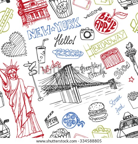 New York Doodle seamless pattern.American travel symbols in hand drawn sketch.Vector icons,sign of landmark,food,lettering,retro Illustration,background.Outline design template. - stock vector