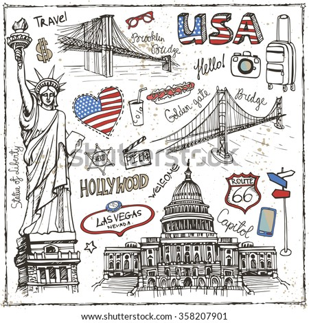 New York Doodle set.American travel symbols in hand drawn sketch.Vector icons,sign of landmark,lettering.Vintage Illustration,background.Golden gate bridge,Statue Of Liberty, Capitol,Brooklin bridge