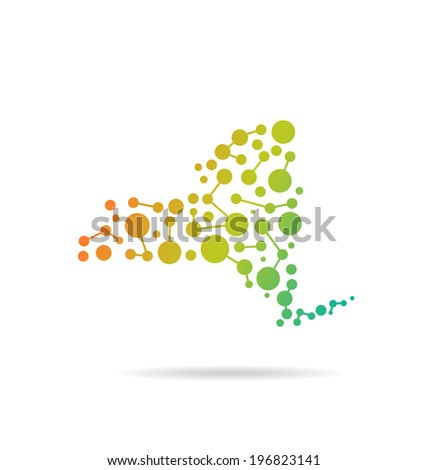 New York dot and lines map image. Concept of networking, structure, communication. Vector icon - stock vector