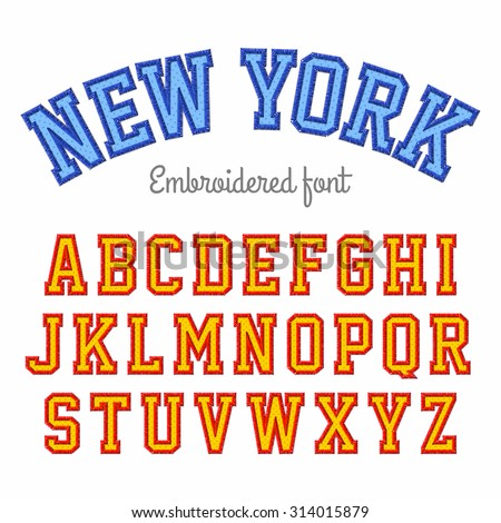 New York, embroidered font vector illustration - stock vector