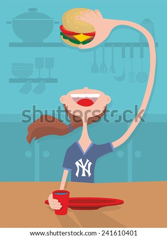 New York girl with traditional shirt eating burger - stock vector