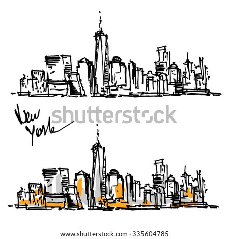 New York hand drawn view. Sketch panorama - stock vector