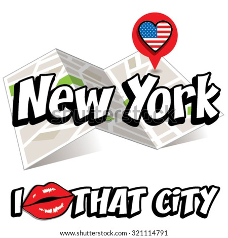 New York. I Love That City. Vector Illustration with country flag. - stock vector