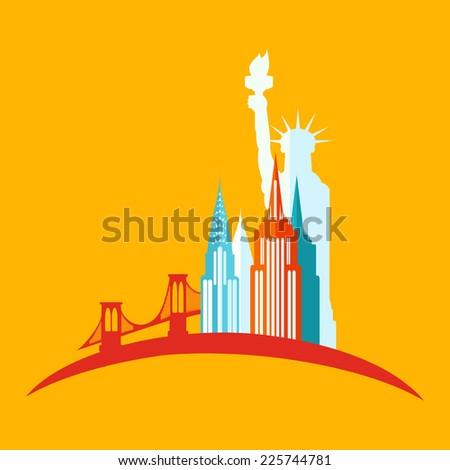 new york icon flat - stock vector