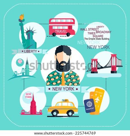 new york icon set - stock vector