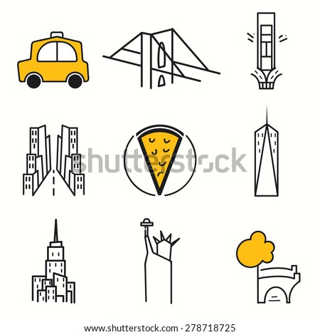 New York icons set - stock vector