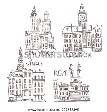 New York, London, Paris, Rome. City set illustration  - stock vector