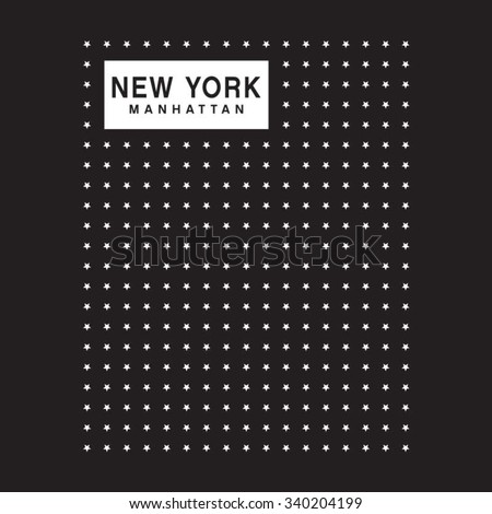 New York Manhattan typography, t-shirt graphics, vectors - stock vector
