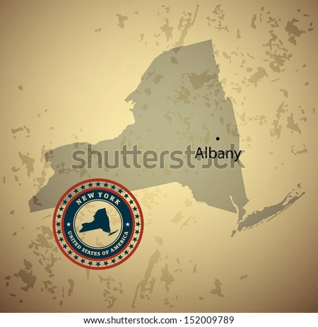 New York map with stamp vintage vector background - stock vector