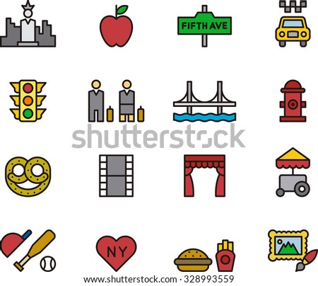 NEW YORK outline icons - stock vector