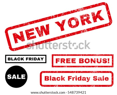 New York rubber seal stamp watermark with bonus images for Black Friday offers. Vector red and black signs. Text inside rectangular banner with grunge design and unclean texture.