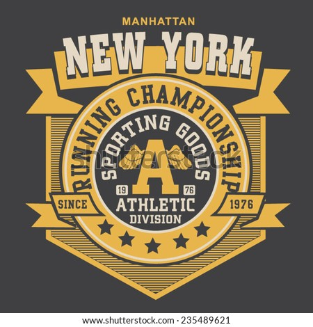 New York running typography, t-shirt graphics, vectors - stock vector