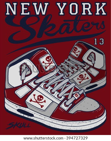 new york skaters t graphic - stock vector