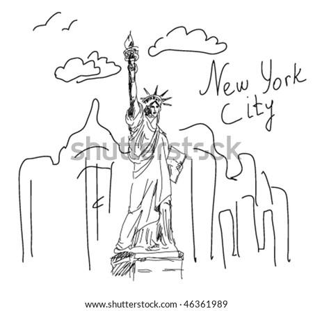 new York sketch - stock vector