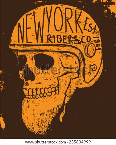 new york skull tee graphic - stock vector