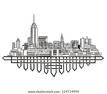 New York Skyline. Black and white vector illustration EPS 8. - stock vector