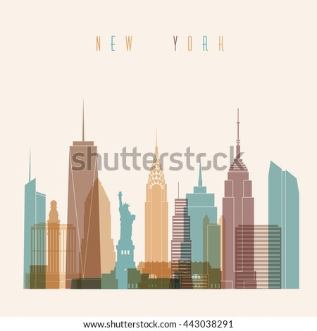 New York skyline city multicolor silhouette. Colorful Building and City, Urban cityscape, Abstract City scene. - stock vector