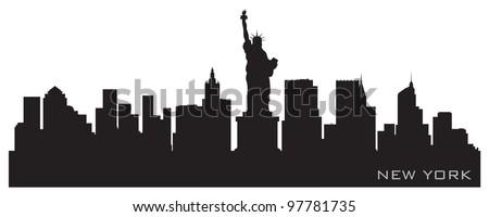 New York skyline. Detailed vector silhouette - stock vector