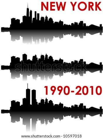 New York Skyline 1990-2010 - old World Trade Center, without and with the new WTC - stock vector