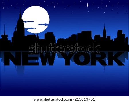 New York skyline reflected with text and moon vector illustration - stock vector