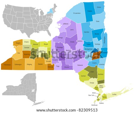 New York state counties - stock vector