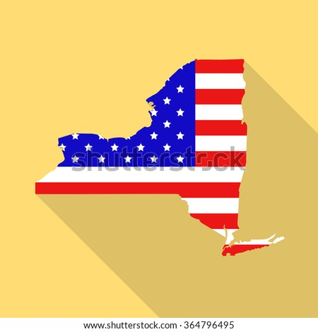 New York state map in style of USA national flag. Flat style with long shadow - stock vector