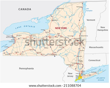 New York State Road Map Stock Vector Shutterstock - Map of state of new york