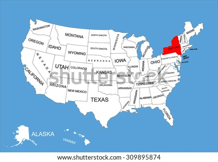 New York State Usa Vector Map Stock Vector 309895874 Shutterstock - New York On Us Map