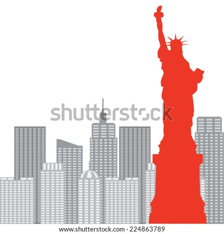 New York Statue of Liberty on the background, vector illustration