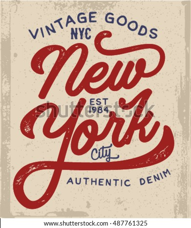 New York t-shirt design. Apparel fashion print. Vintage hand lettered tee graphics. Custom typographic composition. Hand crafted art poster.