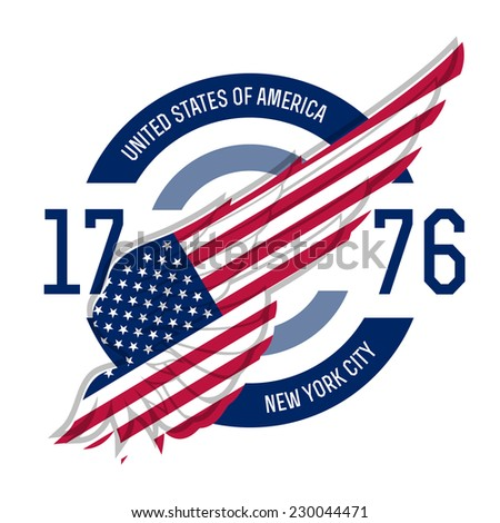 New york t-shirt design. Tee templates with wing and USA flag colors and symbols. America t-shirt vector graphics. - stock vector