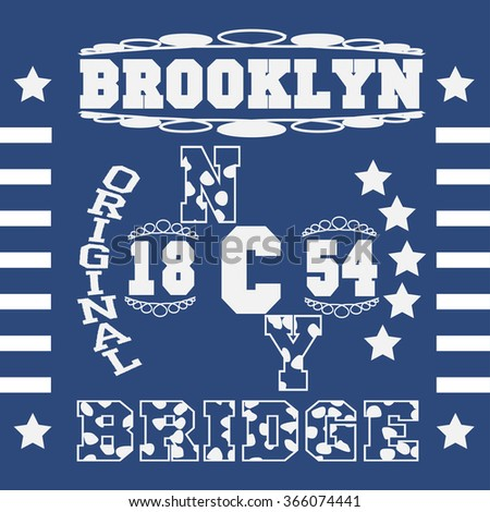 New york  typography fashion Brooklyn, t-shirt graphics. Vector illustration