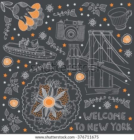 New York. USA - stock vector