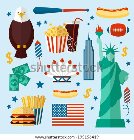 New York USA set of liberty statue skyscraper fast food isolated vector illustration - stock vector