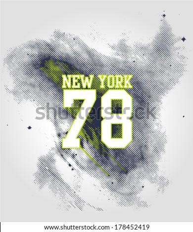 New York Varsity Print Design. College - Varsity T-Shirt. Vector eps. Eps10 - stock vector