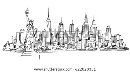 New York Vector Drawinghand Drawnsketch Styleisolatedvector 622028351