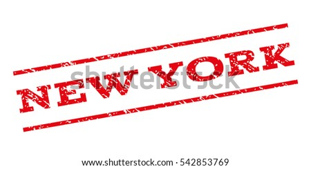 New York watermark stamp. Text tag between parallel lines with grunge design style. Rubber seal stamp with scratched texture. Vector red color ink imprint on a white background.