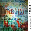 New York. Word Grunge collage on background. - stock vector