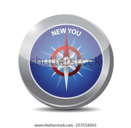new you compass illustration design over a white background - stock vector