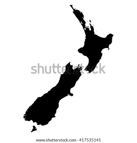 New Zealand black map on white background vector - stock vector