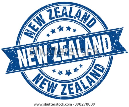New Zealand blue round grunge vintage ribbon stamp