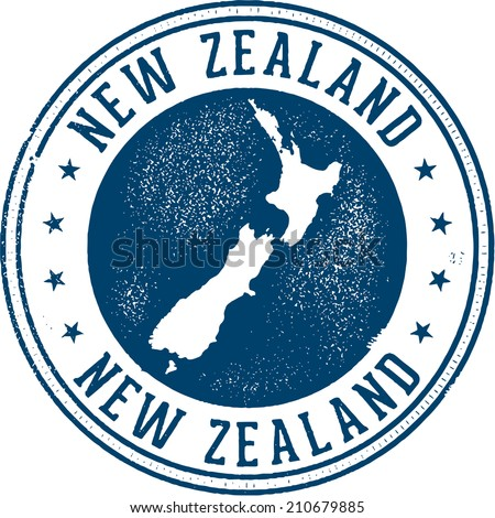New Zealand Country Travel Stamp - stock vector