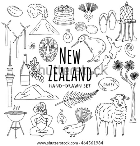 New Zealand Icons Hand Drawn Vector Set