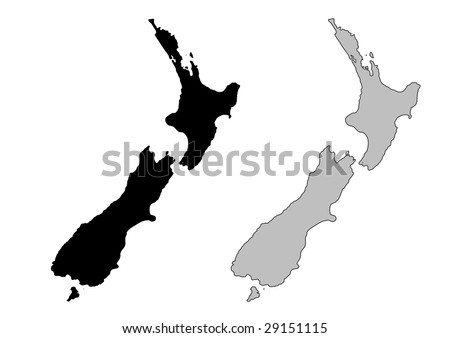 New Zealand map. Black and white. Mercator projection. - stock vector