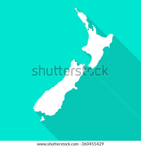 New Zealand map flat simple style with long shadow.
