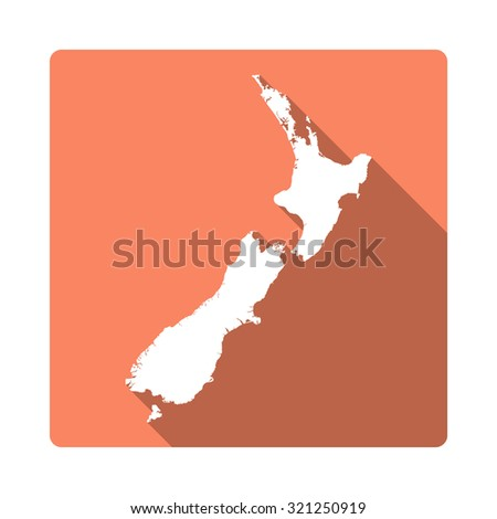 New Zealand map: modern flat icon with long shadow. Vector icon map of New Zealand on orange background. Flat style country map
